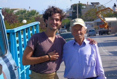With a greek farmer, Agii Apostoli.