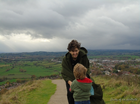William and I rushing up the Tor