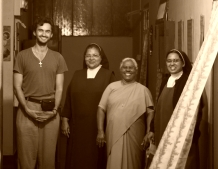 In hilltown Coorg, with nuns from Catholic Convent, India.