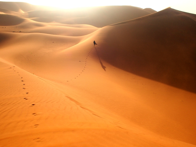 running barefoot through Sahara