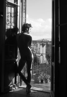 At home, Florence, in my birthday suit.