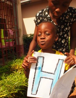 He was so proud to make his own letter H