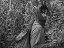 Trekking through Digya Jungle, Ghana.