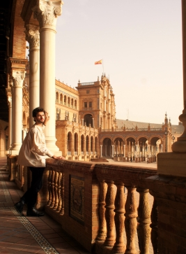 Blending into the man-made beauty of Seville, Spain.