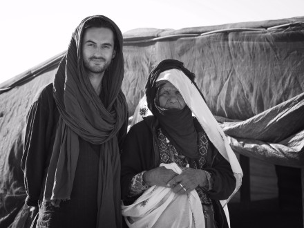 with Bedouin woman, Negev Desert, Israel