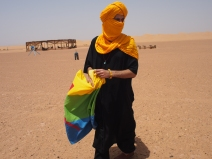 Sahara with Berber flag
